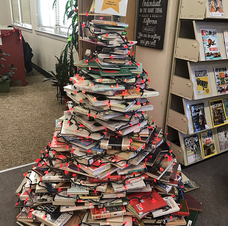 Vic High's annual recycled book Christmas tree